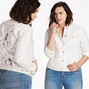 Lucky Brand white denim jacket with floral back